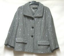 ESCADA GREY SEQUIN TRIM BOXY JACKET COAT LINED LOGO BUTTONS UK 16