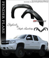 For 2007-2013 Chevy Avalanche Blk Boss Pocket Style Fender Flares Wheel Cover 4P