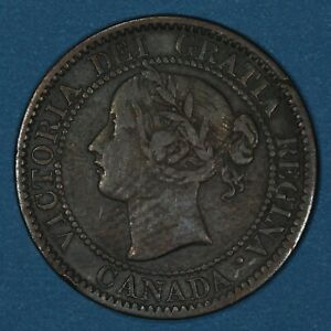 1858 Canada Large Cent coin, VF, KM# 1, first year