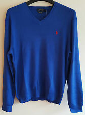 BNWT MENS POLO RALPH LAUREN V NECK PIMA COTTON JUMPER/SWEATER SIZE LARGE IN BLUE