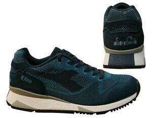 Diadora V7000 Weave Blue Textile Suede Leather Lace Up Mens Trainers 60024 B1D