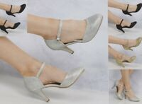 NEW WOMEN ANKLE STRAP MARY JANE SHIMMER PARTY DRESSY SHOES 345678