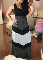 Womens Fashion Color Block High Waist Maxi Dress Party Sleeveless Evening Dress