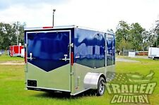 New 2021 6 x 12 Custom Atp V- Nose Enclosed Motorcycle Cargo Trailer w/ Ramp