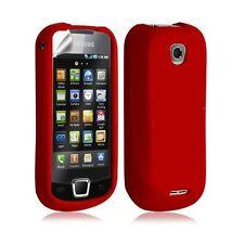 Housse étui coque silicone pour Samsung Galaxy Teos i5800 couleur rouge + film