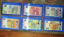Spielgeld * Rechengeld * Euro * Scheine 6 Hologrammkarten 5,10,20,50,100&200€