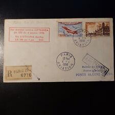 AVIATION LETTRE COVER PREMIER VOL PARIS RIO DE JANEIRO BRÉSIL 1958