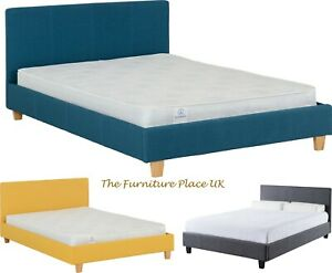 Prado 4ft6 Double Bed Frame in Blue Grey or Mustard  Fabric