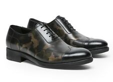 A TESTONI Camouflage Calf Leather Oxford Shoes MADE in ITALY UK8 US9 IT42 NEW