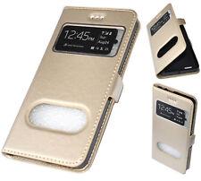 Élégant étui à raba Housse Coque View Premium Doré Cuir Pu pour Sony Xperia E5