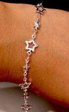 Cadena de estrella de plata esterlina 925 Estampado Enlace Pulsera De Dama De Honor Caja de Regalo Gratis 10