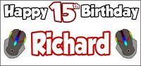 PC Gaming 15th Birthday Banner x 2 Party Decorations Boys Girls ANY NAME