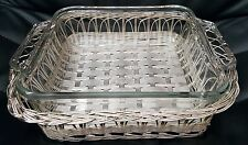 NEW VINTAGE SQUARE ANCHOR PYREX DISH IN WOVEN SILVER BASKET WITH HANDLES 2 QT