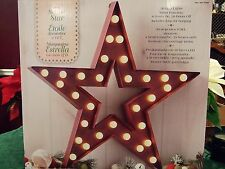 "NEW LED Light Large Marquee Star Metal Hanging Sign 24"" Decoration Seasonal NIB"