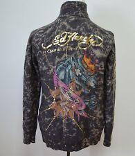 Ed Hardy Medium Christian Audigier Sweater Full Zip Wool Gold Crown Panther Bing