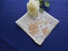Vintage White Madeira Hanky Embroidery & Applique in Brown & Tan Nwt