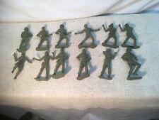 "Nice lot of 12 Vintage Green Army Men 5"" Man Vintage War Plastic Toy"