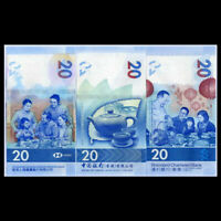 Hong Kong Set 3 PCS, 20 Dollars, 2018(2020), P-New, HSBC & SBC & BOC, Tea,  UNC