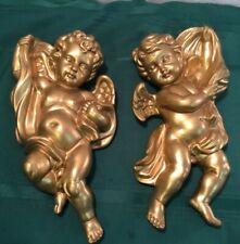 Vintage Homco 1120 Gold Plastic Cherub /Angel Wall Plaques Set of 2