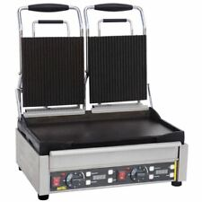 Buffalo Double Contact Grill Ribbed Top Silver Colour Stainless Steel
