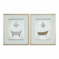 Ornate Gold Bath Tub Room Wall Art Print Set | Chandelier Vintage Style Elegant