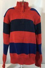 Polo Ralph Lauren Boys S Pullover Sweater Zip Neck 100% Cotton Red Blue Navy