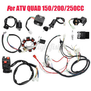 Full Electric Wiring Harness Wire Loom CDI Stator For ATV QUAD 150CC 200CC