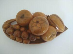 MCM Vintage, Carved Wooden Fruit, Leaf Bowl, Mid Century Excellent Cond.