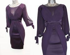 KAREN MILLEN 14UK Purple Silk Split 3/4 Sleeves Evening Party Bodycon Mini Dress