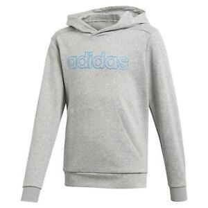 adidas ESSENTIALS JUNIOR SPORTS LINEAR HOODIE GREY KIDS BOYS COMFY WARM CLOTHING
