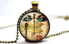 Dragonfly No.4 - Vintage Antique Bronze Tone Photo Glass Dome Necklace Pendant