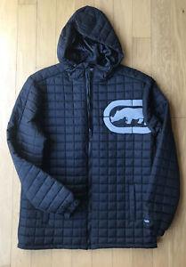 Ecko Unltd Men's Black Quilted Puffer Jacket Size M Hooded Rhino Logo NWT