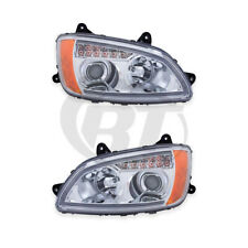 Headlights Front Lamps for 08-08 Kenworth T-660 (Chrome) Left Right Pair Set