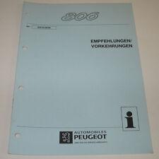 Werkstatthandbuch Peugeot 806 Empfehlungen Vorkehrungen Stand 09/1994