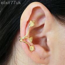 Regno Unito ORO triplice foglia 3 FOGLIE Ear Cuff Wrap Superiore Elica Cartilagine Orecchino clip