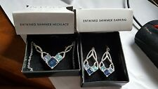 Brand New Blue Entwined Shimmer Slivertone Necklace & Matching Dangle Earrings!