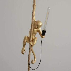 Seletti Gold Resi Hemp Rope Monkey Pendant Light Fixture Ceiling Lamp Chandelier