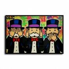"""Alec Monopoly """"Not hear, Not see.."""" HD Canvas Print Home Decor Wall Art Pictures"""