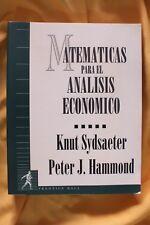 Libro Matemáticas para el análisis económico. Knut Sydsaeter. Peter J. Hammond.