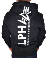 Alpha Industries Backprint Sweatshirt Kapu Hoody schwarz weiß 178318 Herren Neu
