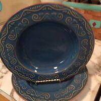 Pier 1 Tunisia Stoneware Flat Rim Soup Bowls Set Of Two