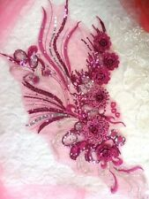 "Embroidered 3D Applique Fuchsia Silver Floral Sequin Patch 20"" (DH71)"