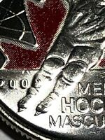 RARE! UNCIRCULATED 2009 25 cents Men's Hockey Colour Raised 2 Canada coin