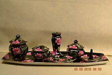 Vntg Porcelain Vanity/Dresser Set HP Rose Pattern 7 PC  Thomas Tiill  #102105H