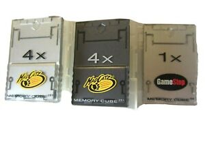 Mad Catz Memory Cubes two-4X, GameStop 1X Cube & four Mad Catz cases, Untested