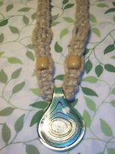 HANDMADE 18 inch Super FAT HEMP Necklace with LARGE Glass ROUND Pendant H-46