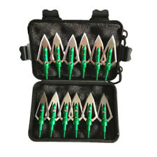 "12Pcs Green Broadheads 100 Grain 0.9"" Cut Hunting Arrows Archery Arrowheads Tips"