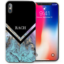 Apple iPhone X Case, Marble Arrow Personalised Silicone Gel Cover Black/Blue