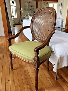 Pair French style Caned Armchair
