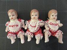 """Vintage partial Quintuplets 2-1/4"""" Yvonne/Annette/Cecile Bisque/Porcelain Red"""